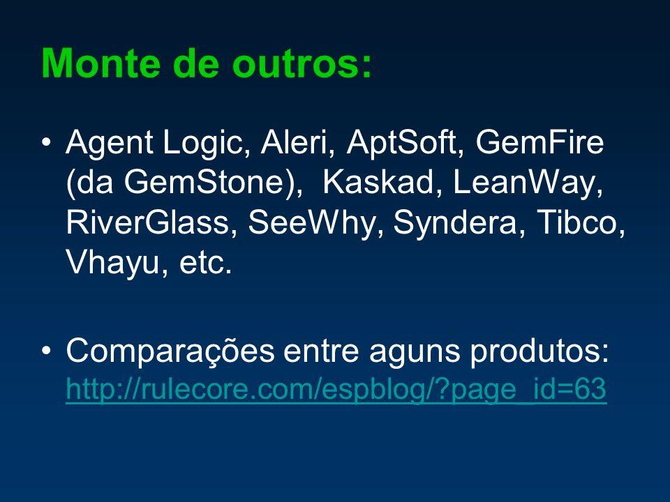 Monte de outros: Agent Logic, Aleri, AptSoft, GemFire (da GemStone), Kaskad, LeanWay, RiverGlass, SeeWhy, Syndera, Tibco, Vhayu, etc.