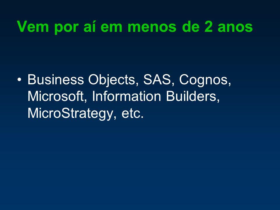Vem por aí em menos de 2 anos Business Objects, SAS, Cognos, Microsoft, Information Builders, MicroStrategy, etc.