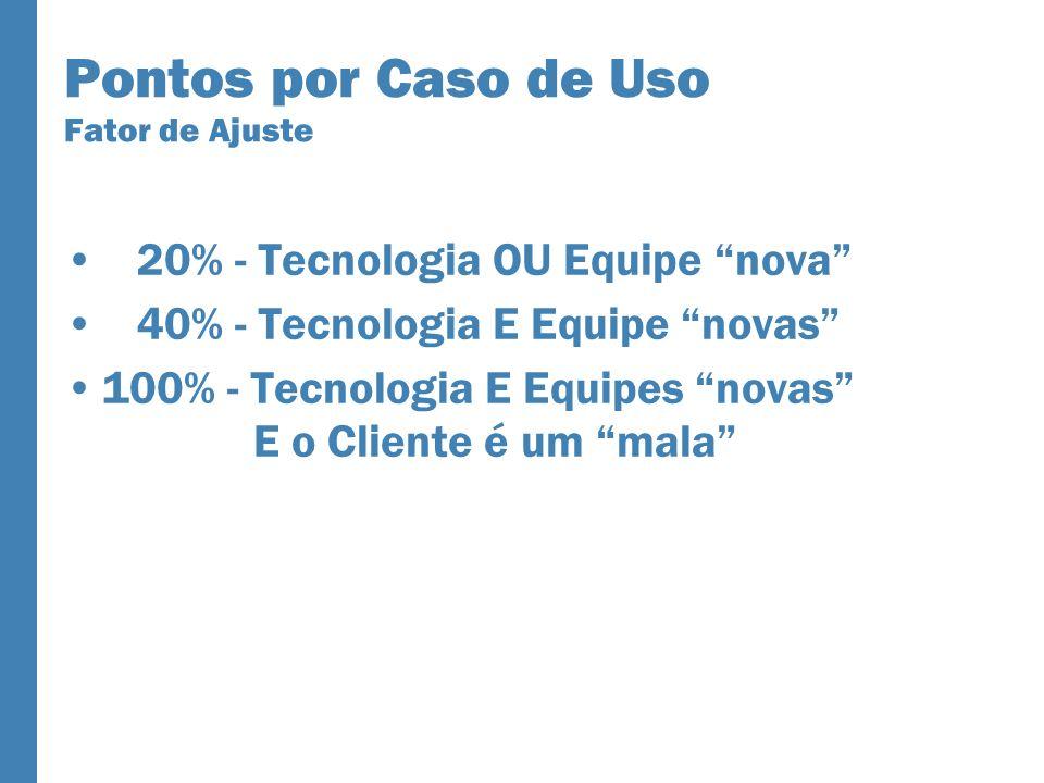 Pontos por Caso de Uso Fator de Ajuste 20% - Tecnologia OU Equipe nova 40% - Tecnologia E Equipe novas 100% - Tecnologia E Equipes novas E o Cliente é