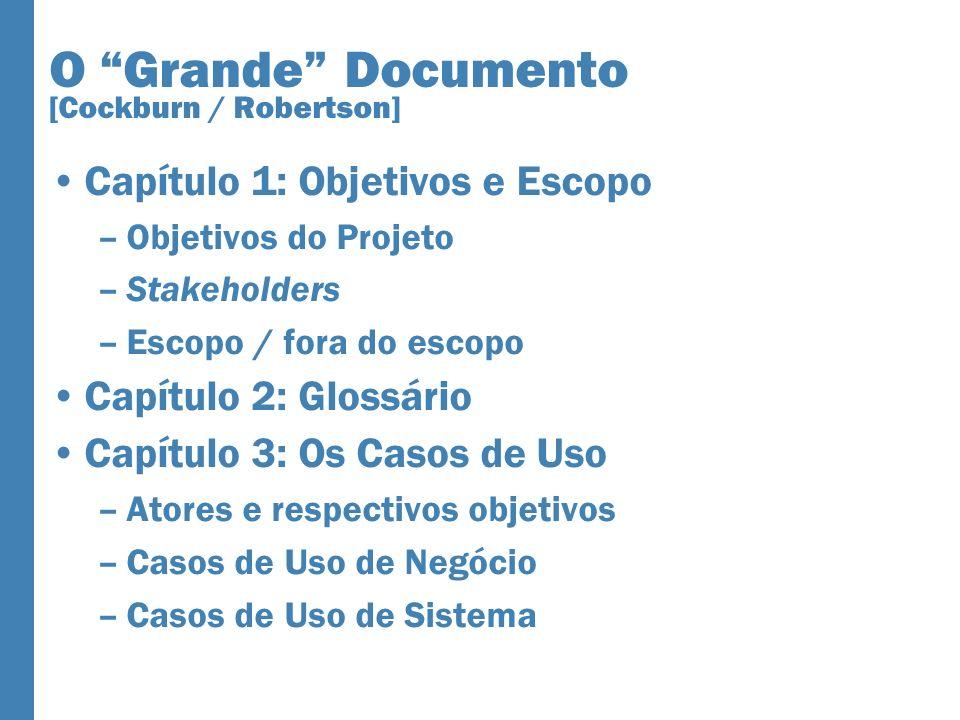 O Grande Documento [Cockburn / Robertson] Capítulo 1: Objetivos e Escopo –Objetivos do Projeto –Stakeholders –Escopo / fora do escopo Capítulo 2: Glos