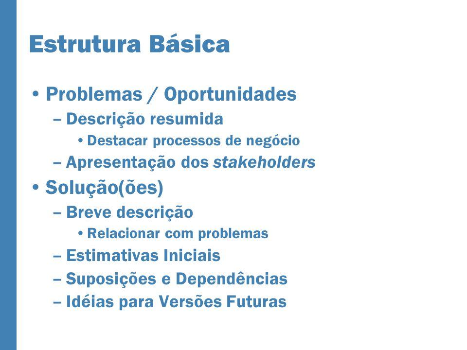 Estrutura Básica Problemas / Oportunidades –Descrição resumida Destacar processos de negócio –Apresentação dos stakeholders Solução(ões) –Breve descri