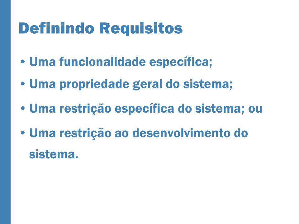 Definindo Requisitos Uma funcionalidade específica; Uma propriedade geral do sistema; Uma restrição específica do sistema; ou Uma restrição ao desenvolvimento do sistema.