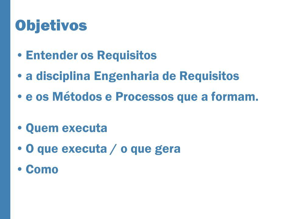 Objetivos Entender os Requisitos a disciplina Engenharia de Requisitos e os Métodos e Processos que a formam. Quem executa O que executa / o que gera