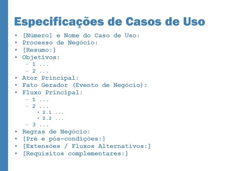 Especificações de Casos de Uso [Número] e Nome do Caso de Uso: Processo de Negócio: [Resumo:] Objetivos: –1... –2... Ator Principal: Fato Gerador (Eve