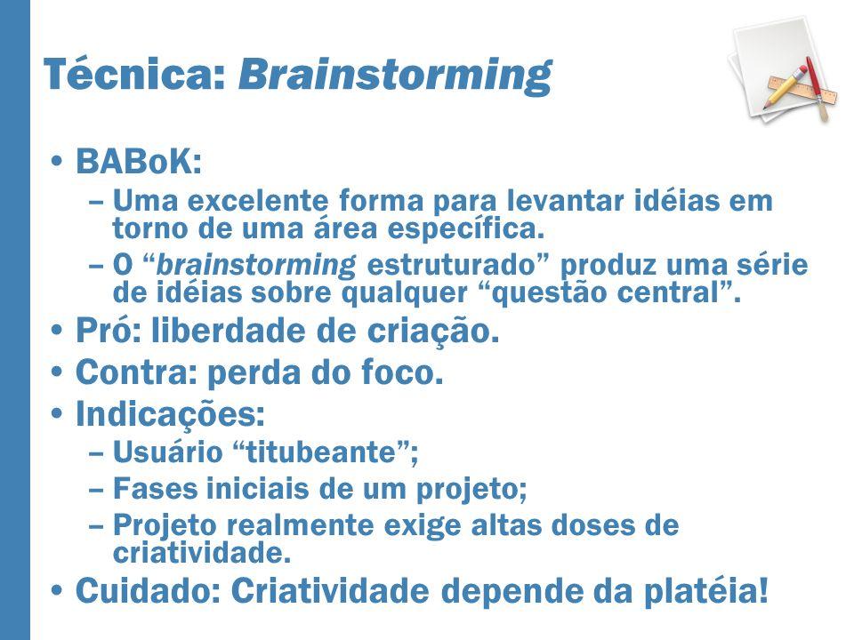 Técnica: Brainstorming BABoK: –Uma excelente forma para levantar idéias em torno de uma área específica. –O brainstorming estruturado produz uma série