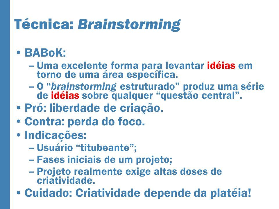 Técnica: Brainstorming BABoK: –Uma excelente forma para levantar idéias em torno de uma área específica.