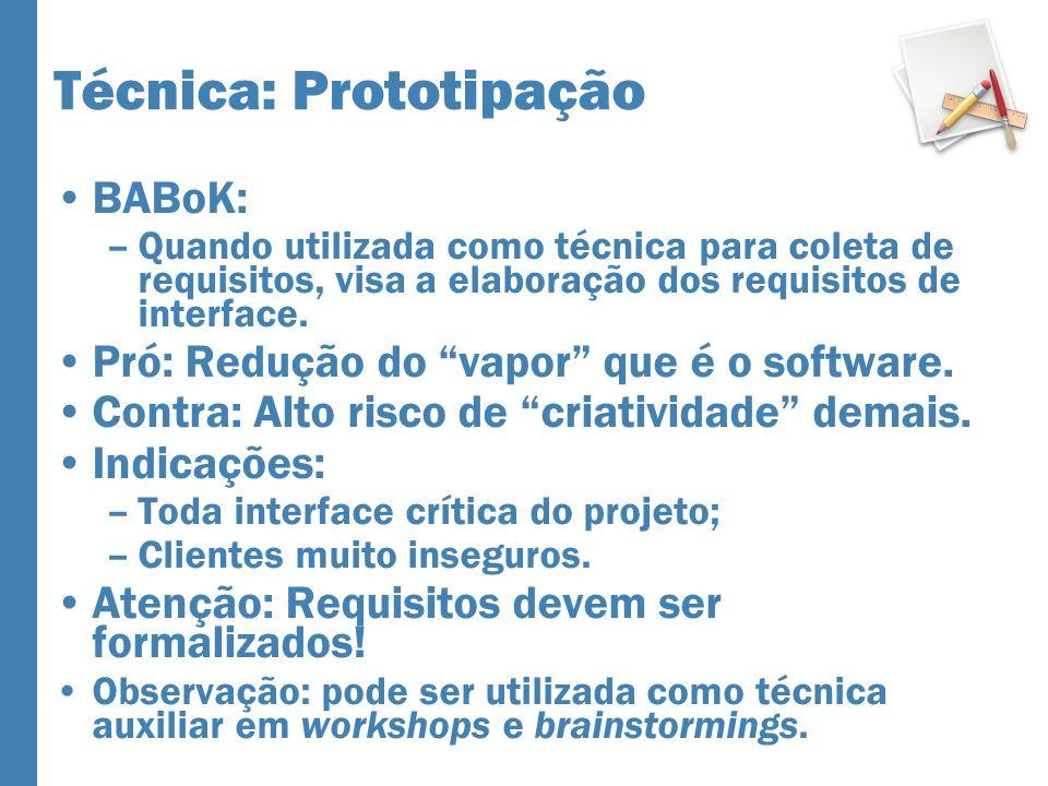 Técnica: Prototipação BABoK: –Quando utilizada como técnica para coleta de requisitos, visa a elaboração dos requisitos de interface. Pró: Redução do