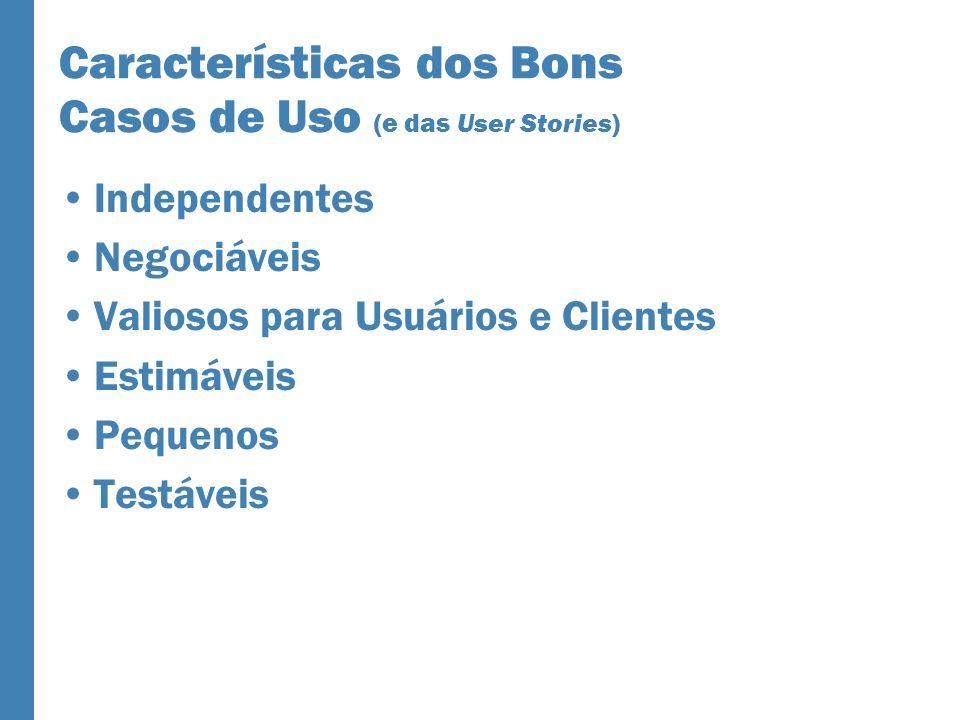 Características dos Bons Casos de Uso (e das User Stories) Independentes Negociáveis Valiosos para Usuários e Clientes Estimáveis Pequenos Testáveis