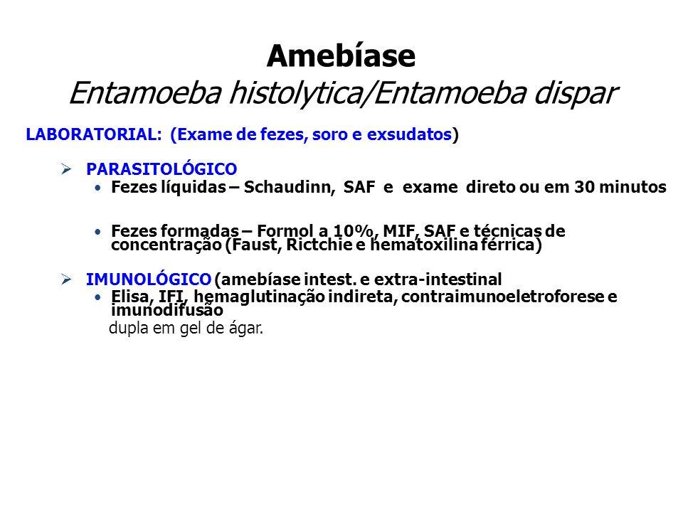 Amebíase Entamoeba histolytica/Entamoeba dispar LABORATORIAL: (Exame de fezes, soro e exsudatos) PARASITOLÓGICO Fezes líquidas – Schaudinn, SAF e exam