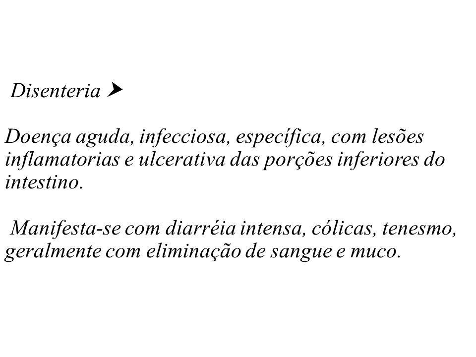 Disenteria Doença aguda, infecciosa, específica, com lesões inflamatorias e ulcerativa das porções inferiores do intestino. Manifesta-se com diarréia