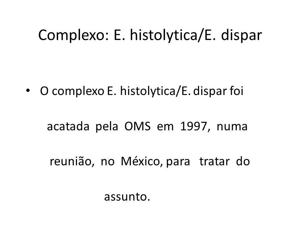 Complexo: E. histolytica/E. dispar O complexo E. histolytica/E. dispar foi acatada pela OMS em 1997, numa reunião, no México, para tratar do assunto.
