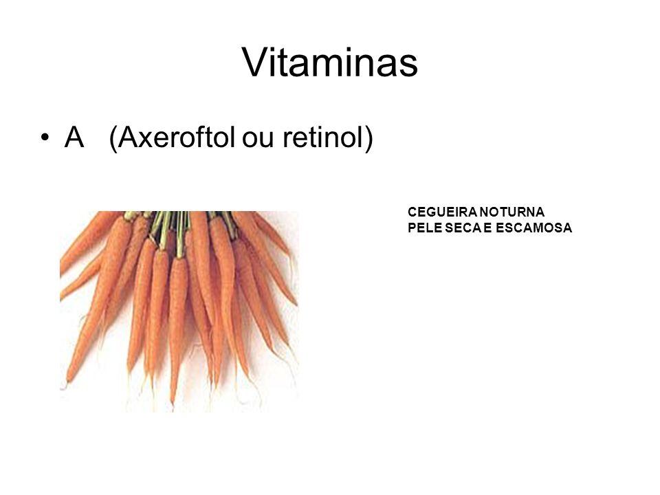 Vitaminas A (Axeroftol ou retinol) CEGUEIRA NOTURNA PELE SECA E ESCAMOSA