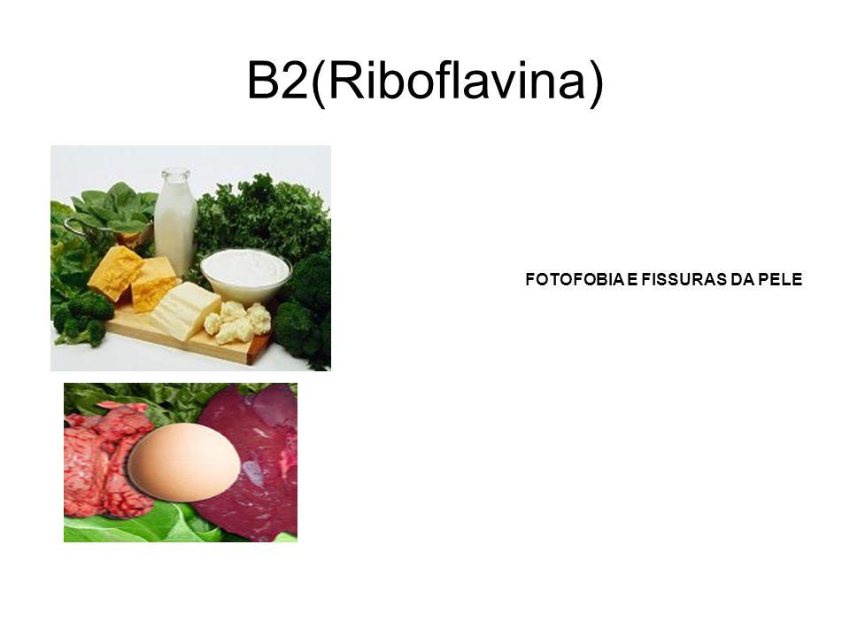 B2(Riboflavina) FOTOFOBIA E FISSURAS DA PELE