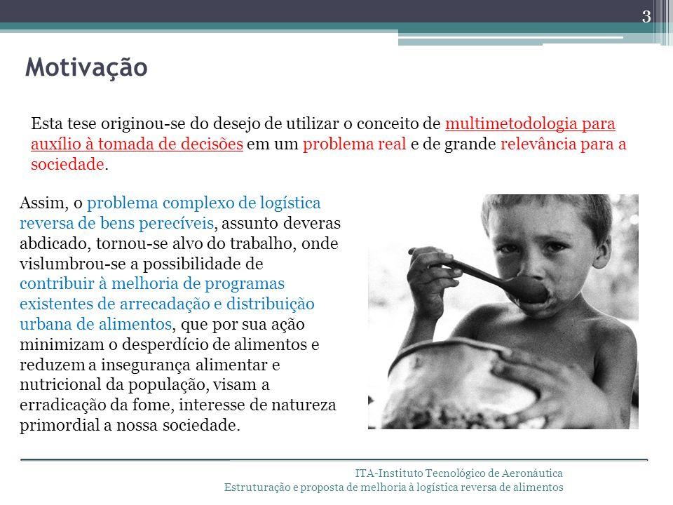 ITA-Instituto Tecnológico de Aeronáutica Estruturação e proposta de melhoria à logística reversa de alimentos O Brasil apresenta altíssimos níveis de perda e desperdício de alimentos, tanto ao longo das cadeias produtivas e de distribuição, como em nível do preparo e armazenamento.