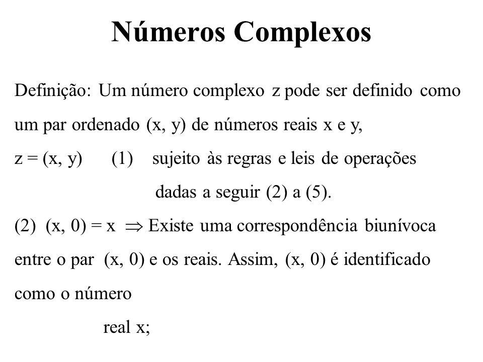 (0, 1) = i é chamado de unidade imaginária; (x, y) representam a parte real e a parte imaginária, isto é, R(z) = x e Y(z) = y.