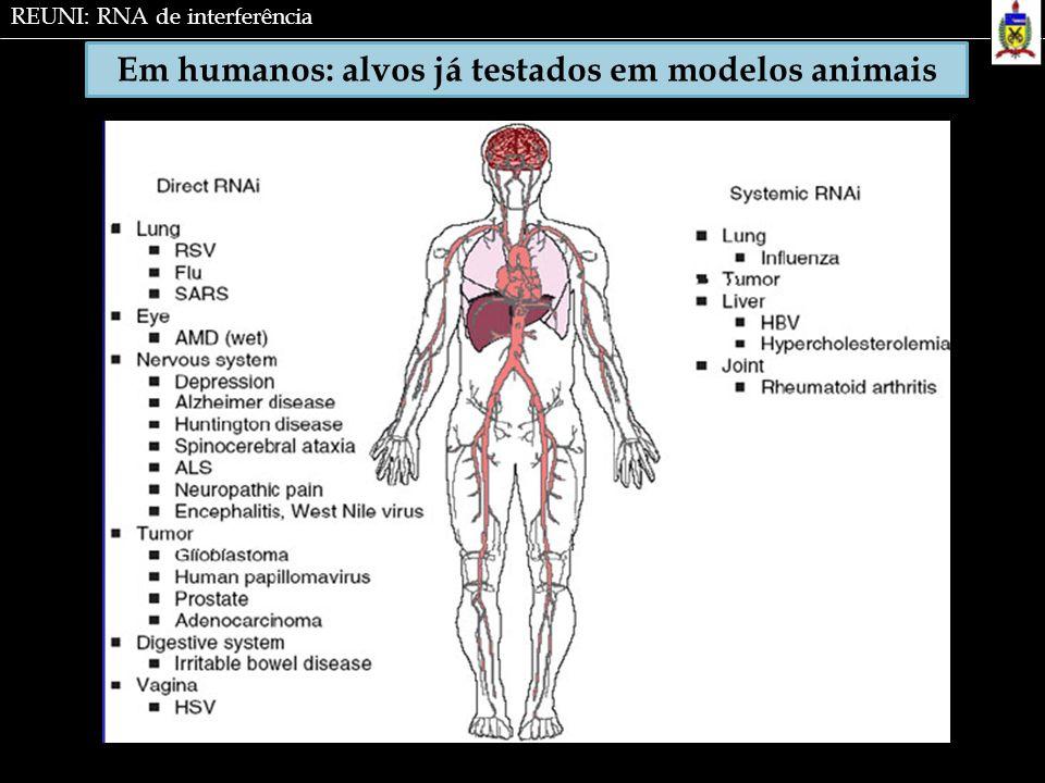 Em humanos: alvos já testados em modelos animais REUNI: RNA de interferência
