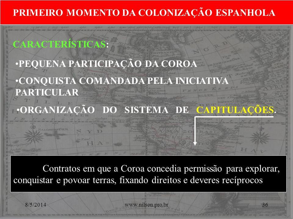 ORGANIZAÇÃO DO SISTEMA DE CAPITULAÇÕES. PRIMEIRO MOMENTO DA COLONIZAÇÃO ESPANHOLA Contratos em que a Coroa concedia permissão para explorar, conquista