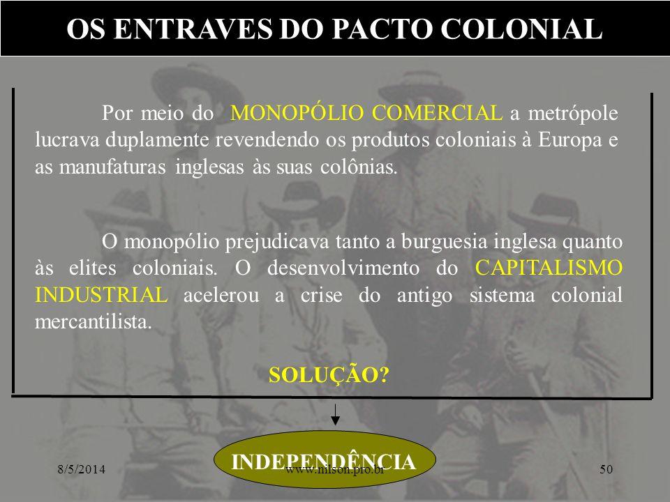 Por meio do MONOPÓLIO COMERCIAL a metrópole lucrava duplamente revendendo os produtos coloniais à Europa e as manufaturas inglesas às suas colônias. O