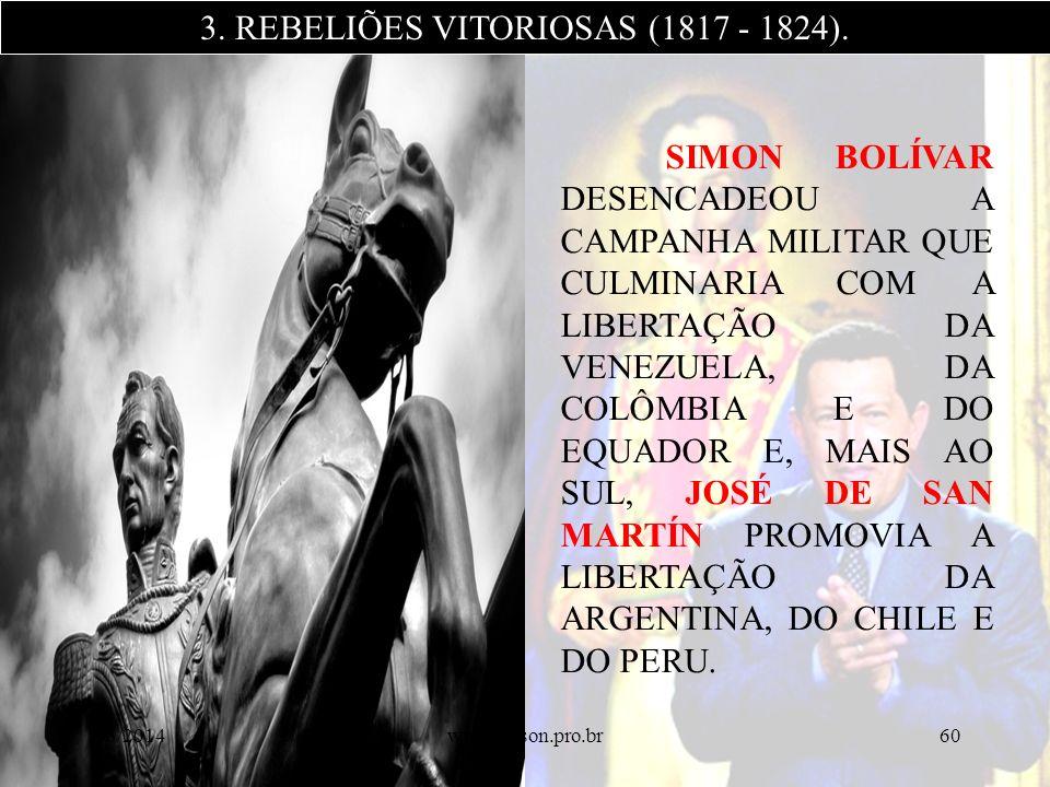 SIMON BOLÍVAR DESENCADEOU A CAMPANHA MILITAR QUE CULMINARIA COM A LIBERTAÇÃO DA VENEZUELA, DA COLÔMBIA E DO EQUADOR E, MAIS AO SUL, JOSÉ DE SAN MARTÍN