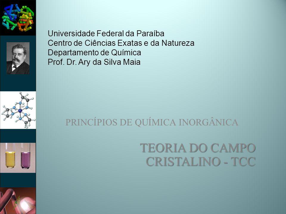 Teoria do Campo Cristalino (TCC) Modelo Eletrostático: – Prediz que os orbitais d em um complexo metálico não são degenerados.