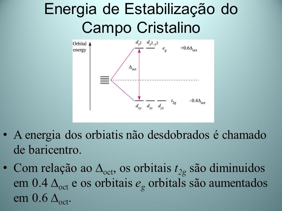 Energia de Estabilização do Campo Cristalino A energia dos orbiatis não desdobrados é chamado de baricentro. Com relação ao oct, os orbitais t 2g são