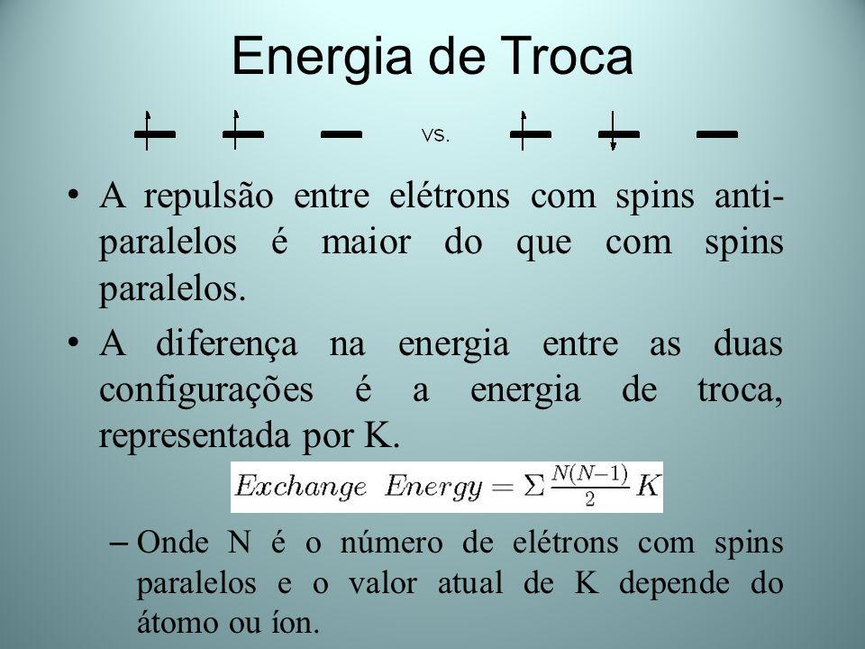 Energia de Troca A repulsão entre elétrons com spins anti- paralelos é maior do que com spins paralelos. A diferença na energia entre as duas configur