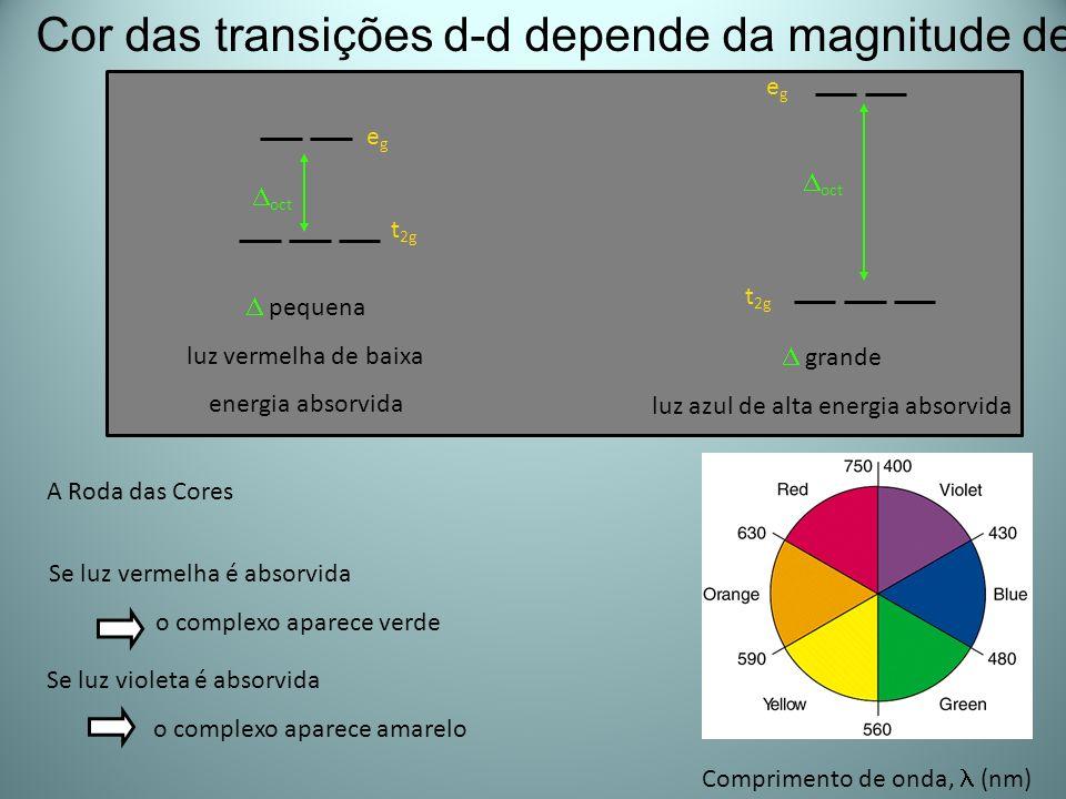 A Roda das Cores Comprimento de onda, (nm) Se luz vermelha é absorvida o complexo aparece verde Se luz violeta é absorvida o complexo aparece amarelo
