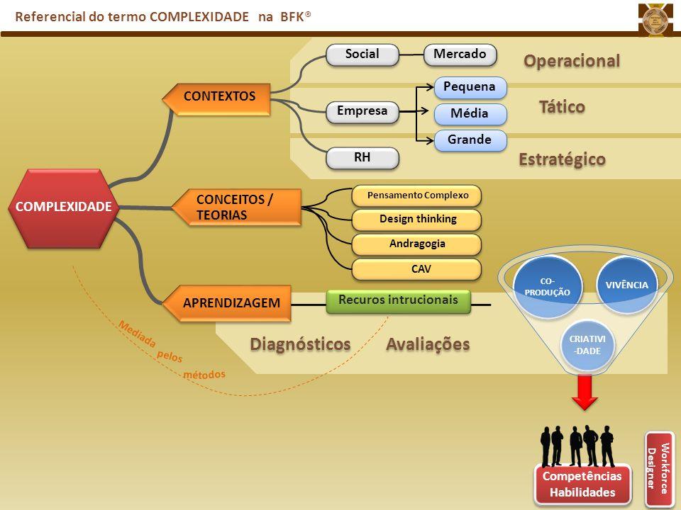 Referencial do termo COMPLEXIDADE na BFK® Workforce Designer CO- PRODUÇÃO CRIATIVI -DADE VIVÊNCIA Diagnósticos Avaliações COMPLEXIDADE CONTEXTOS APREN