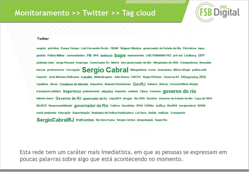 Monitoramento >> Twitter >> Tag cloud Esta rede tem um caráter mais imediatista, em que as pessoas se expressam em poucas palavras sobre algo que está acontecendo no momento.