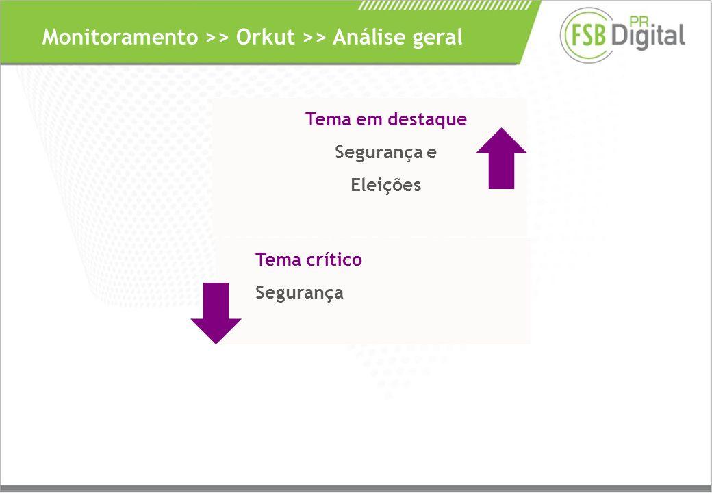 Monitoramento >> Orkut >> Análise geral Tema em destaque Segurança e Eleições Tema crítico Segurança