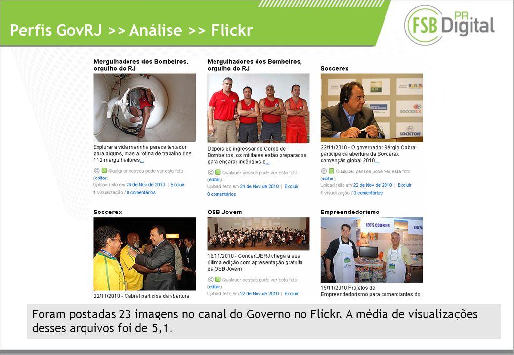 Perfis GovRJ >> Análise >> Flickr Foram postadas 23 imagens no canal do Governo no Flickr.