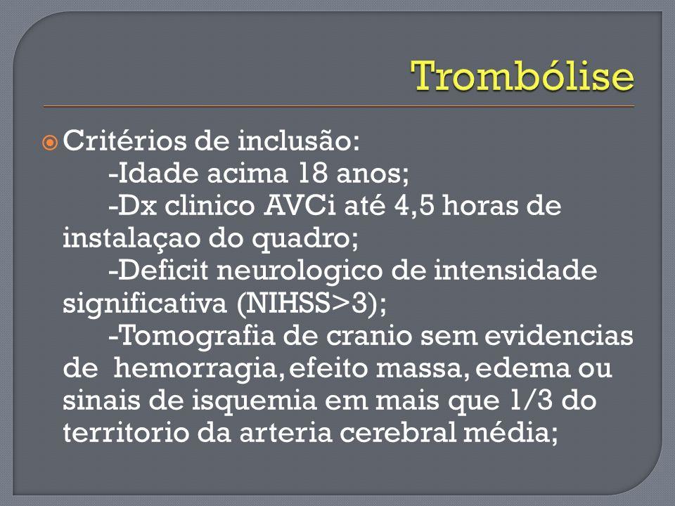 Critérios de inclusão: -Idade acima 18 anos; -Dx clinico AVCi até 4,5 horas de instalaçao do quadro; -Deficit neurologico de intensidade significativa