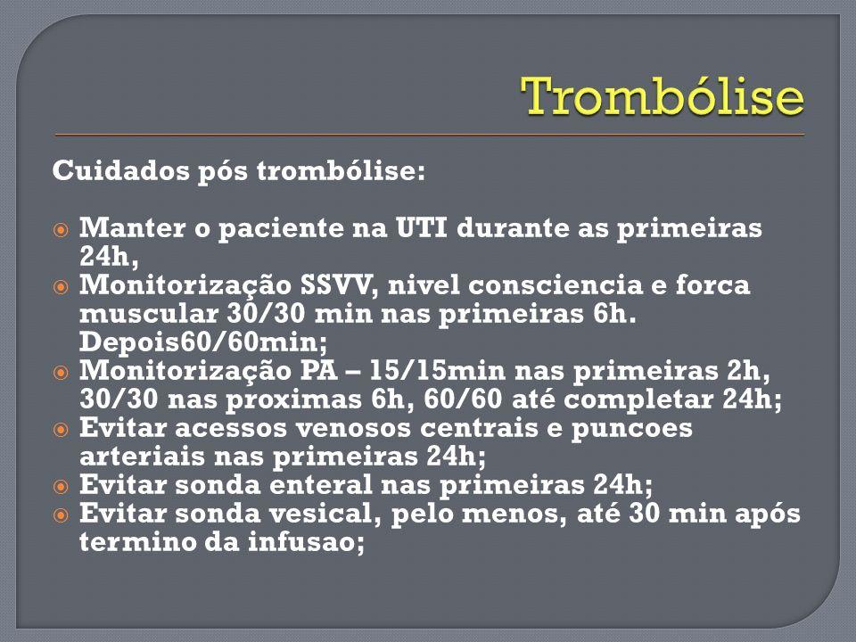 Cuidados pós trombólise: Manter o paciente na UTI durante as primeiras 24h, Monitorização SSVV, nivel consciencia e forca muscular 30/30 min nas prime