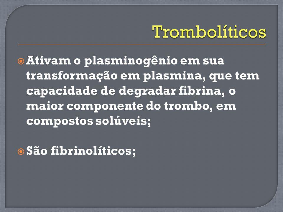Atualmente, existem no mundo seis agentes fibrinoliticos disponiveis para uso clinico: Fibrino específicosNão-fibrino específicos Ativador tecidual do plasminoge ̂ nio (t-PA) Estreptoquinase (SK),.Alteplase.Tenecteplase.Reteplase Ativador do complexo plasminoge ̂ nio- estreptoquinase sem acilac ̧ a ̃ o (APSAC ou anistreplase) Ativador do plasminoge ̂ nio do tipo uroquinase de cadeia unica (scu-PA)