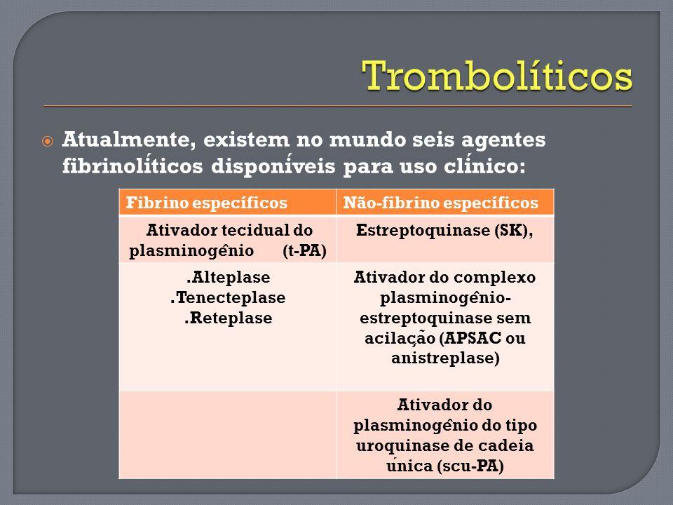 Atualmente, existem no mundo seis agentes fibrinoliticos disponiveis para uso clinico: Fibrino específicosNão-fibrino específicos Ativador tecidual do