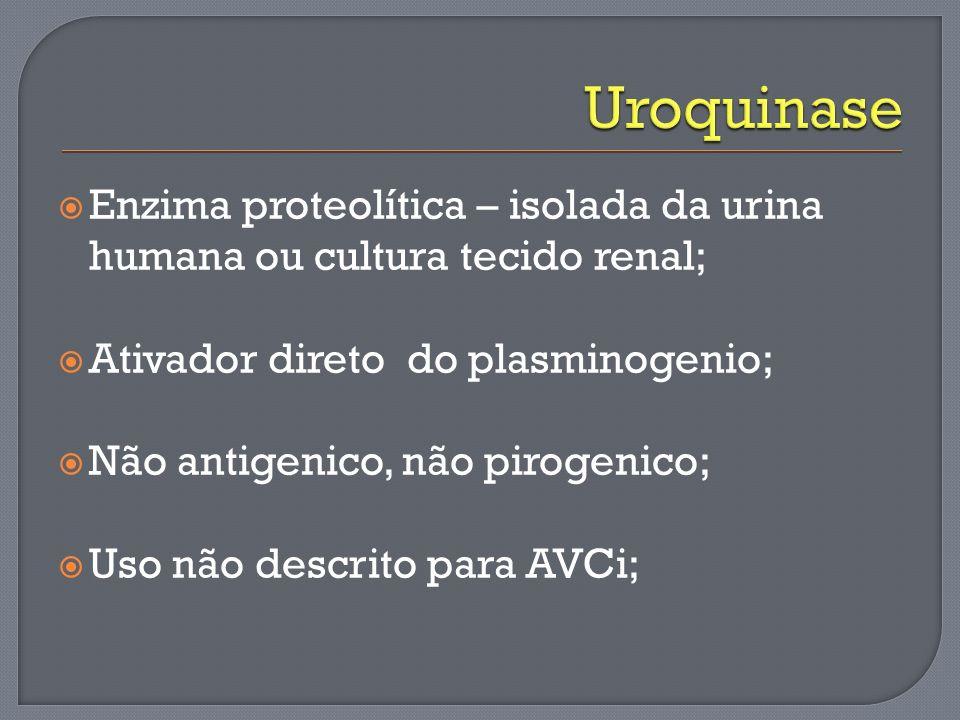 Enzima proteolítica – isolada da urina humana ou cultura tecido renal; Ativador direto do plasminogenio; Não antigenico, não pirogenico; Uso não descr