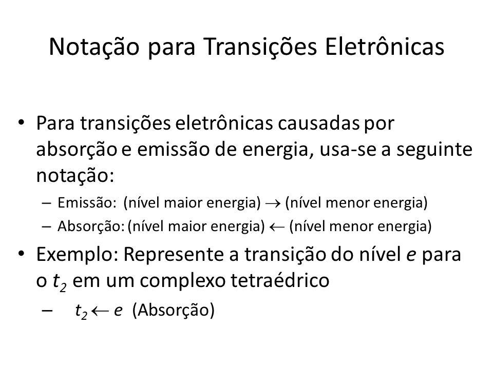 Notação para Transições Eletrônicas Para transições eletrônicas causadas por absorção e emissão de energia, usa-se a seguinte notação: – Emissão: (nível maior energia) (nível menor energia) – Absorção: (nível maior energia) (nível menor energia) Exemplo: Represente a transição do nível e para o t 2 em um complexo tetraédrico – t 2 e (Absorção)
