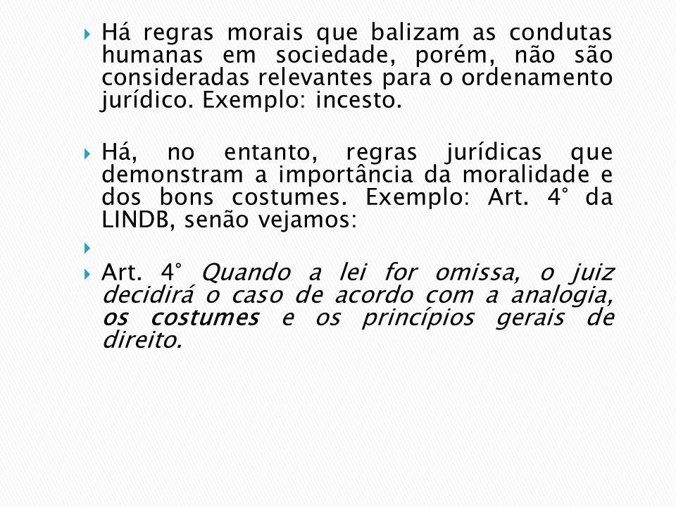 Há regras morais que balizam as condutas humanas em sociedade, porém, não são consideradas relevantes para o ordenamento jurídico. Exemplo: incesto. H