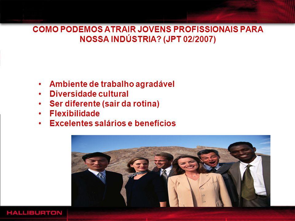COMO PODEMOS ATRAIR JOVENS PROFISSIONAIS PARA NOSSA INDÚSTRIA? (JPT 02/2007) Ambiente de trabalho agradável Diversidade cultural Ser diferente (sair d
