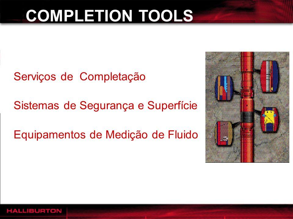 COMPLETION TOOLS Serviços de Completação Sistemas de Segurança e Superfície Equipamentos de Medição de Fluido