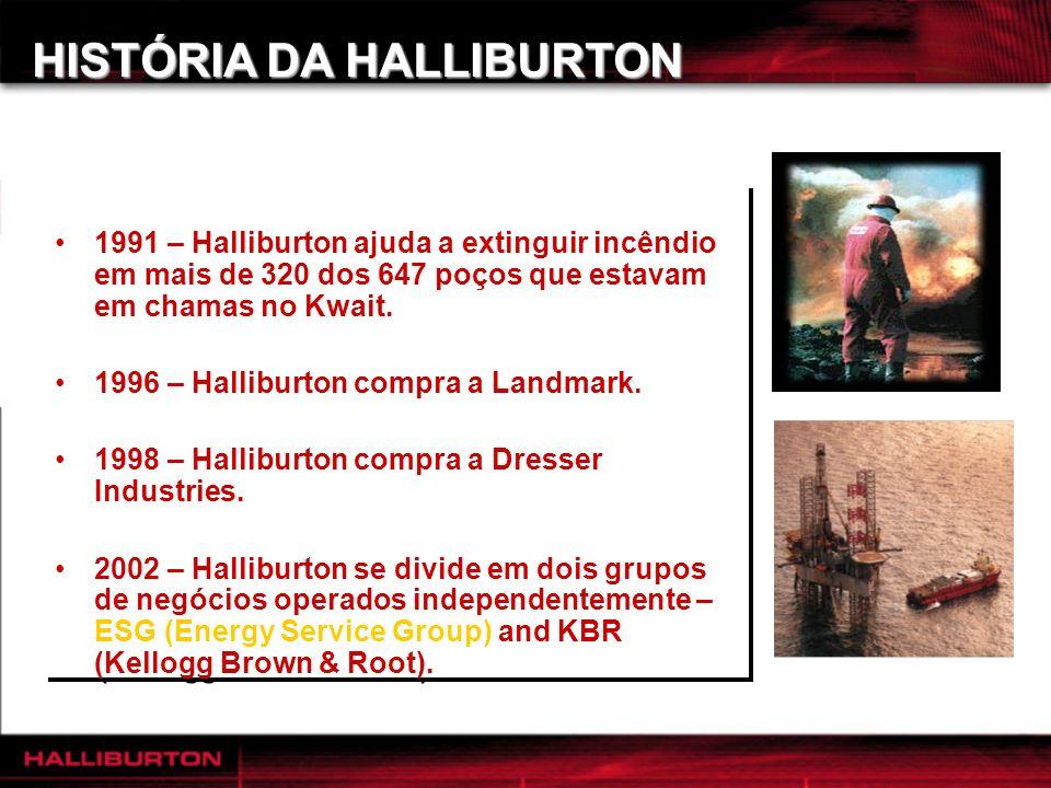 HISTÓRIA DA HALLIBURTON 1991 – Halliburton ajuda a extinguir incêndio em mais de 320 dos 647 poços que estavam em chamas no Kwait. 1996 – Halliburton