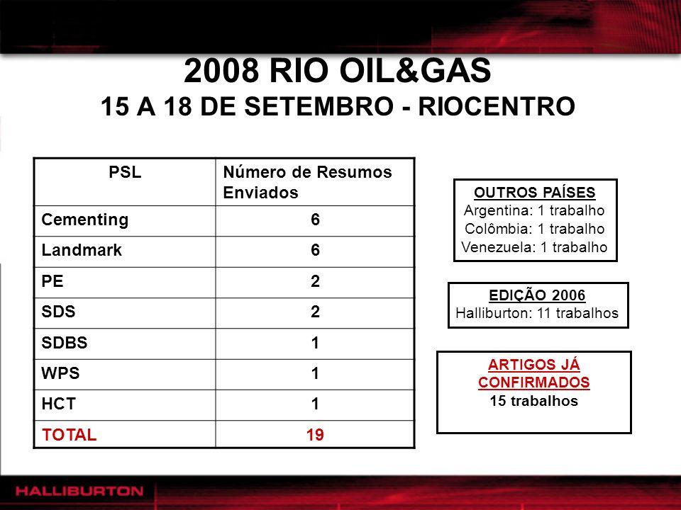 2008 RIO OIL&GAS 15 A 18 DE SETEMBRO - RIOCENTRO PSLNúmero de Resumos Enviados Cementing6 Landmark6 PE2 SDS2 SDBS1 WPS1 HCT1 TOTAL19 EDIÇÃO 2006 Halli