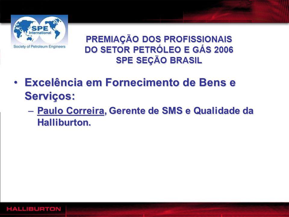 PREMIAÇÃO DOS PROFISSIONAIS DO SETOR PETRÓLEO E GÁS 2006 SPE SEÇÃO BRASIL Excelência em Fornecimento de Bens e Serviços:Excelência em Fornecimento de