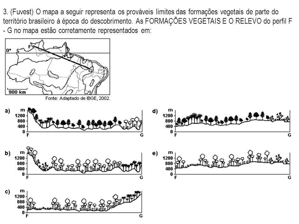 3. (Fuvest) O mapa a seguir representa os prováveis limites das formações vegetais de parte do território brasileiro à época do descobrimento. As FORM