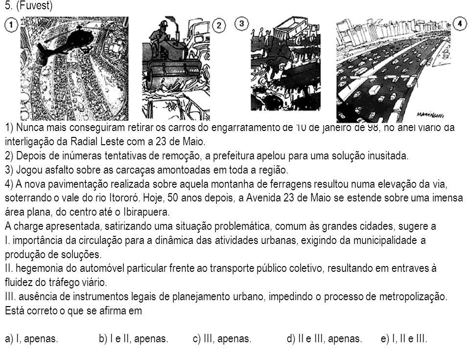 5. (Fuvest) 1) Nunca mais conseguiram retirar os carros do engarrafamento de 10 de janeiro de 98, no anel viário da interligação da Radial Leste com a