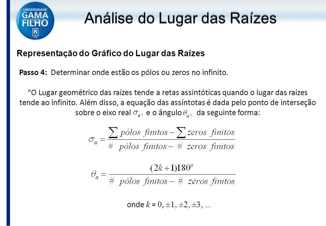 Análise do Lugar das Raízes Representação do Gráfico do Lugar das Raízes Passo 4: Determinar onde estão os pólos ou zeros no infinito. O Lugar geométr