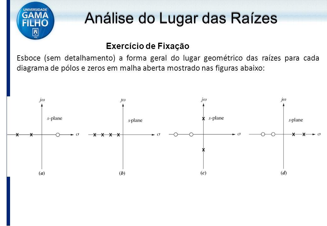Análise do Lugar das Raízes Exercício de Fixação Esboce (sem detalhamento) a forma geral do lugar geométrico das raízes para cada diagrama de pólos e