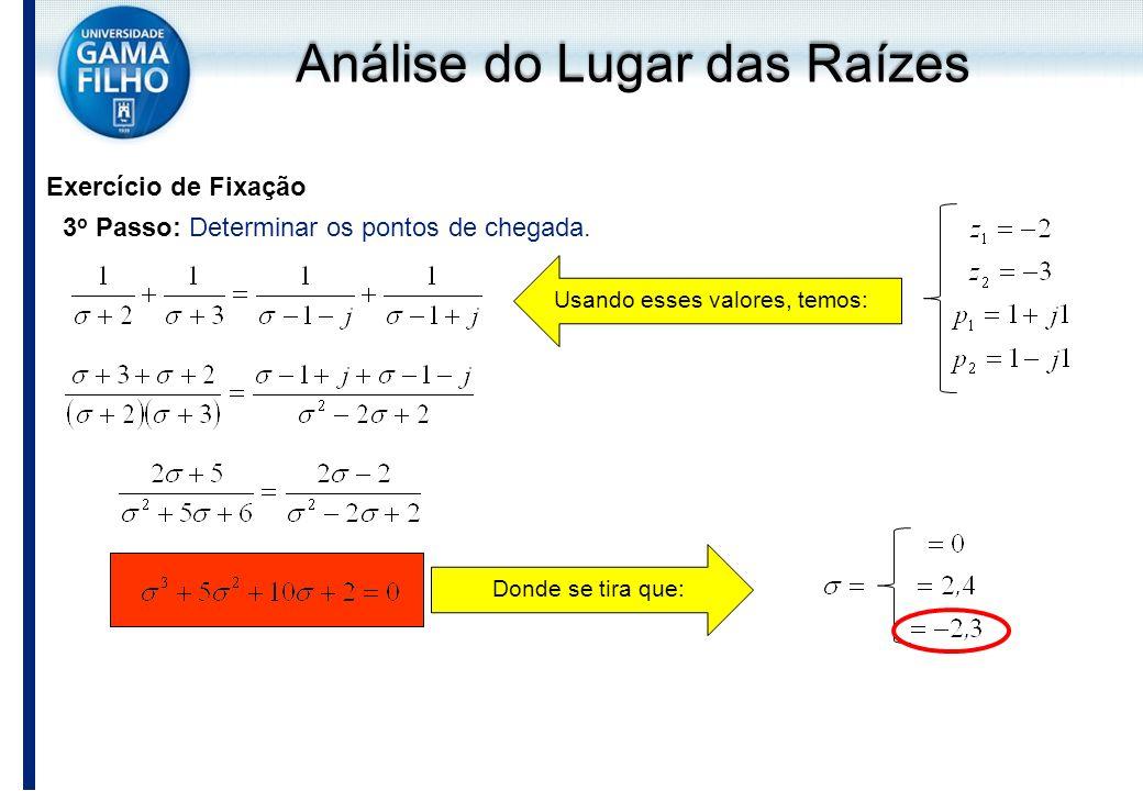 Exercício de Fixação 3 o Passo: Determinar os pontos de chegada. Usando esses valores, temos:Donde se tira que: Análise do Lugar das Raízes