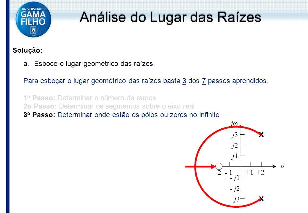 Solução: a.Esboce o lugar geométrico das raízes. Para esboçar o lugar geométrico das raízes basta 3 dos 7 passos aprendidos. 1 o Passo: Determinar o n