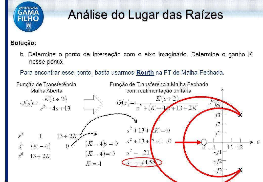 Solução: b. Determine o ponto de interseção com o eixo imaginário. Determine o ganho K nesse ponto. Para encontrar esse ponto, basta usarmos Routh na